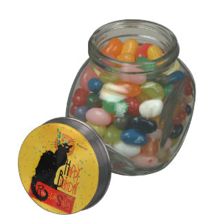 Le Chat Noir - Happy Birthday Greetings Glass Candy Jar