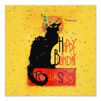Le Chat Noir - Happy Birthday Greetings 5.25x5.25 Square Paper Invitation Card