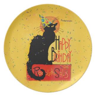 Le Chat Noir - Happy Birthday Greetings Plates