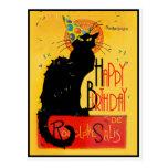 Le Chat Noir - Happy Birthday Greetings Postcard