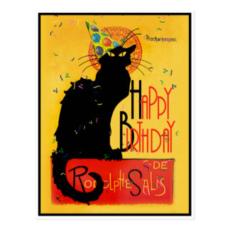 Le Chat Noir - Happy Birthday Greetings Postcard