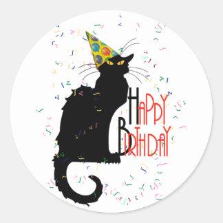 Le Chat Noir - HAPPY BIRTHDAY! Classic Round Sticker