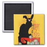 Le Chat Noir - Happy Easter 2 Inch Square Magnet