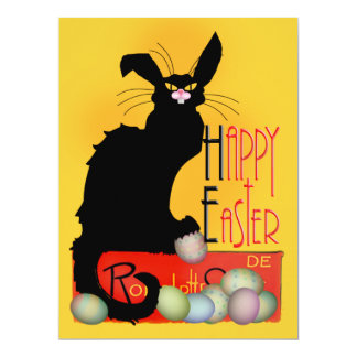 Le Chat Noir - Happy Easter 6.5x8.75 Paper Invitation Card