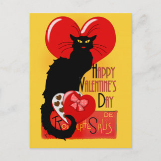 Le Chat Noir - Happy Valentine's Day Holiday Postcard