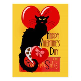Le Chat Noir - Happy Valentine's Day Postcard
