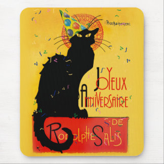 Le Chat Noir - Joyeux Anniversaire -Happy Birthday Mouse Pad