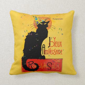 Le Chat Noir - Joyeux Anniversaire -Happy Birthday Throw Pillows