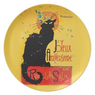 Le Chat Noir - Joyeux Anniversaire -Happy Birthday Plates