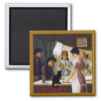 Le Chat Noir Laundry Room 2 Inch Square Magnet