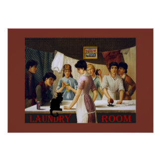 Le Chat Noir Laundry Room Poster