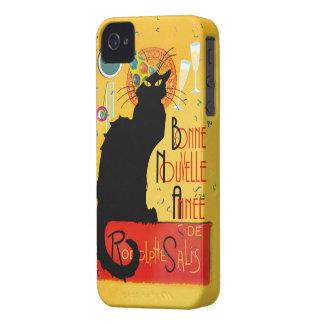 Le Chat Noir - nouvelle Année de Bonne iPhone 4 Case-Mate Protectores