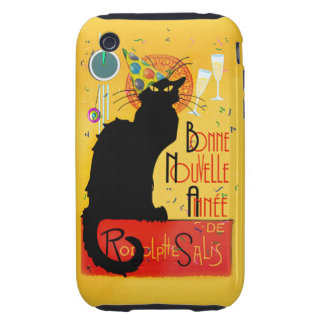 Le Chat Noir - nouvelle Année de Bonne Tough iPhone 3 Cobertura