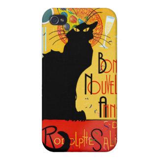 Le Chat Noir - nouvelle Année de Bonne iPhone 4 Protectores