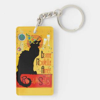 Le Chat Noir - nouvelle Année de Bonne Llavero Rectangular Acrílico A Doble Cara