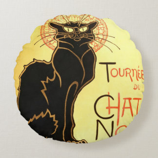Le chat noir,Original billboard Round Pillow