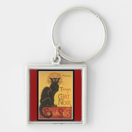 "LE CHAT NOIR PRINT (French for ""The Black Cat"") Keychain"