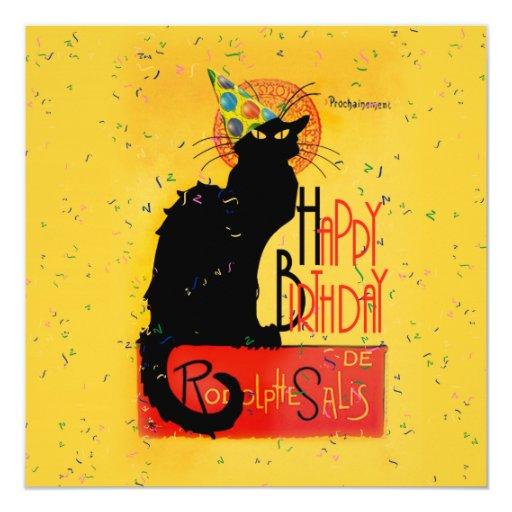 """Le Chat Noir - saludos del feliz cumpleaños Invitación 5.25"""" X 5.25"""""""