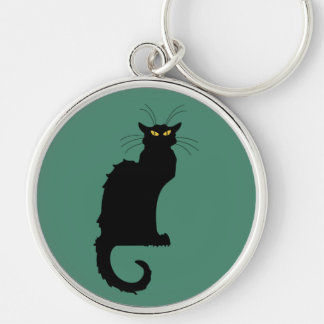 Le Chat Noir Silver-Colored Round Keychain