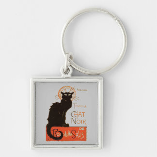 Le Chat Noir Silver-Colored Square Keychain