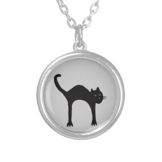 le chat noir silver plated necklace