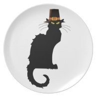 Le Chat Noir Thanksgiving Pilgrim Hat Dinner Plate