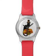 Le Chat Noir Thanksgiving Pilgrim Hat Wristwatch