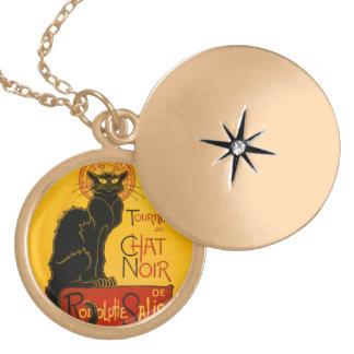 Le Chat Noir The Black Cat Art Nouveau Vintage Round Locket Necklace