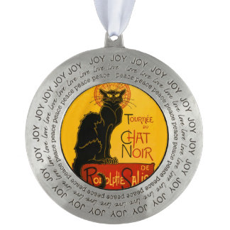 Le Chat Noir The Black Cat Art Nouveau Vintage Pewter Ornament