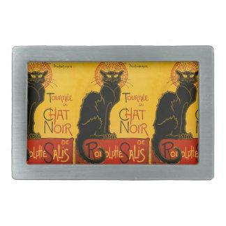 Le Chat Noir The Black Cat Art Nouveau Vintage Rectangular Belt Buckle