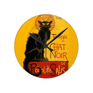 Le Chat Noir The Black Cat Art Nouveau Vintage Round Clock
