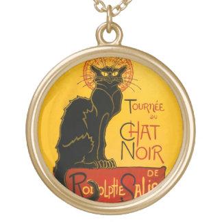 Le Chat Noir The Black Cat Art Nouveau Vintage Round Pendant Necklace