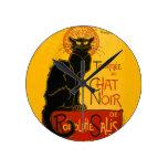 Le Chat Noir The Black Cat Art Nouveau Vintage Round Wall Clocks