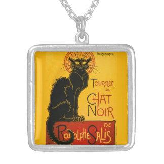 Le Chat Noir The Black Cat Art Nouveau Vintage Square Pendant Necklace