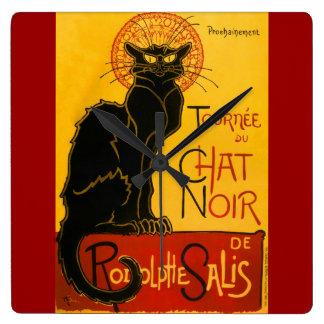 Le Chat Noir The Black Cat Art Nouveau Vintage Square Wall Clock