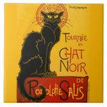 """Le Chat Noir The Black Cat Art Nouveau Vintage Tile<br><div class=""""desc"""">Th&#233;ophile Alexandre Steinlen Le Chat Noir Le Chat Noir was a nineteenth-century entertainment establishment, in the bohemian Montmartre district of Paris. Th&#233;ophile Steinlen&#39;s 1896 Art Nouveau poster illustration is an advertisement for a tour to other cities of the Le Chat Noir&#39;s troupe of cabaret entertainers. Th&#233;ophile Alexandre Steinlen was a...</div>"""