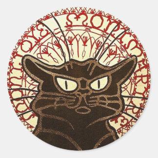 Le Chat Noir, Vente Hôtel Drouot Fine Art Classic Round Sticker