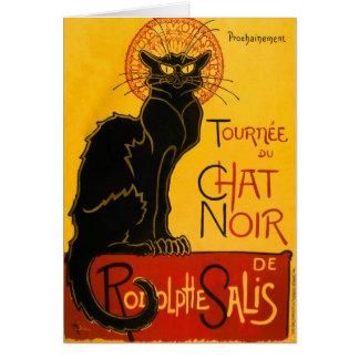 Le Chat Noir Vintage Black Cat Art Nouveau Retro Greeting Card