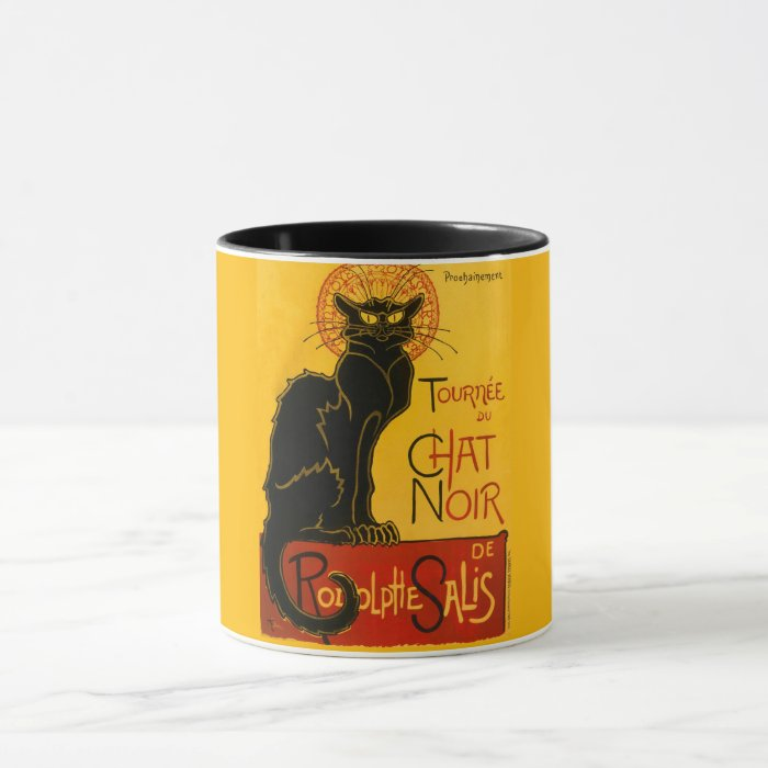 Le Chat Noir Vintage Black Cat Art Nouveau Retro Mug