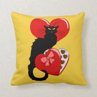 Le Chat Noir With Valentine Candy Throw Pillow
