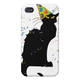 Le Chat Party Hat & Confetti iPhone 4 Cover