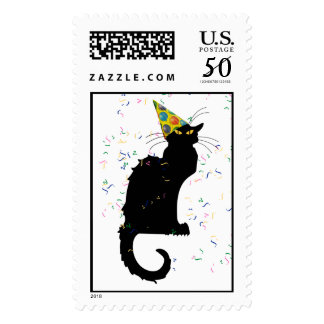 Le Chat Party Hat & Confetti Postage