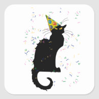 Le Chat Party Hat & Confetti Square Sticker
