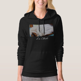 Le  Chat (the cat) calico on dark grey hoodie