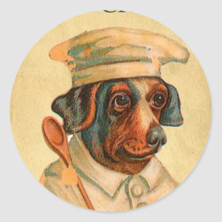 Le Chef Cooking Dog French Cook Classic Round Sticker