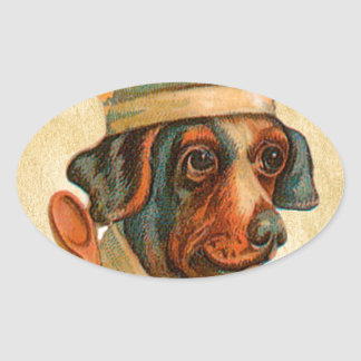 Le Chef Cooking Dog French Cook Oval Sticker