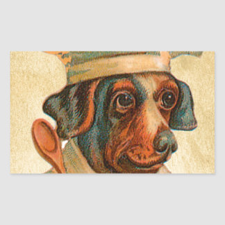 Le Chef Cooking Dog French Cook Rectangular Sticker