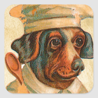 Le Chef Cooking Dog French Cook Square Sticker