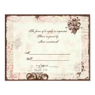"Le Chocolatier - Rose, RSVP Card 4.25"" X 5.5"" Invitation Card"