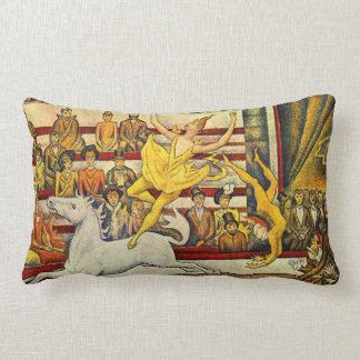 Le Cirque ( The Circus ) by Georges Seurat Lumbar Pillow